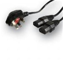 Belkin Pro Series Dual IEC Y-Splitter to UK Plug Power Cable (2x IEC to UK Plug)