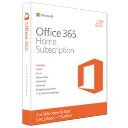 Microsoft Office 365 Home  1 Year License  3264bit  Up to 5 Devices