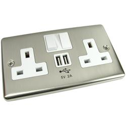 Best Value Wall Socket with built in 2 x USB Charging Ports Chrome