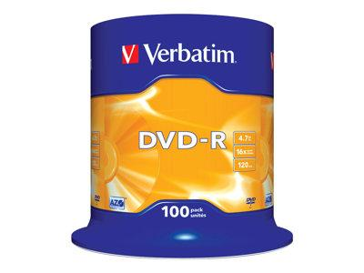 Verbatim DVD-R 16x Silver 4.7GB 100 Pack Spindle
