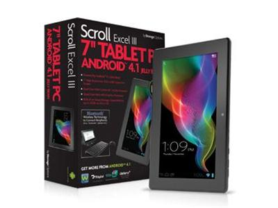 "Storage Options Scroll Excel III 7"" Android 4.1 8GB Capacitive Tablet"